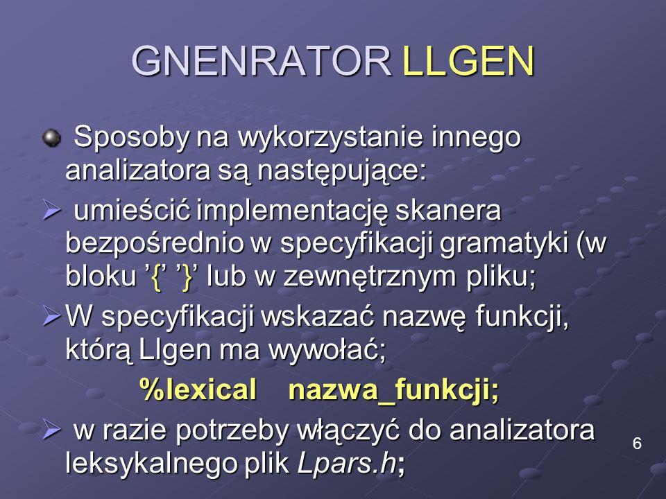 GNENRATOR LLGEN Sposoby na wykorzystanie innego analizatora są następujące: Sposoby na wykorzystanie innego analizatora są następujące: umieścić imple