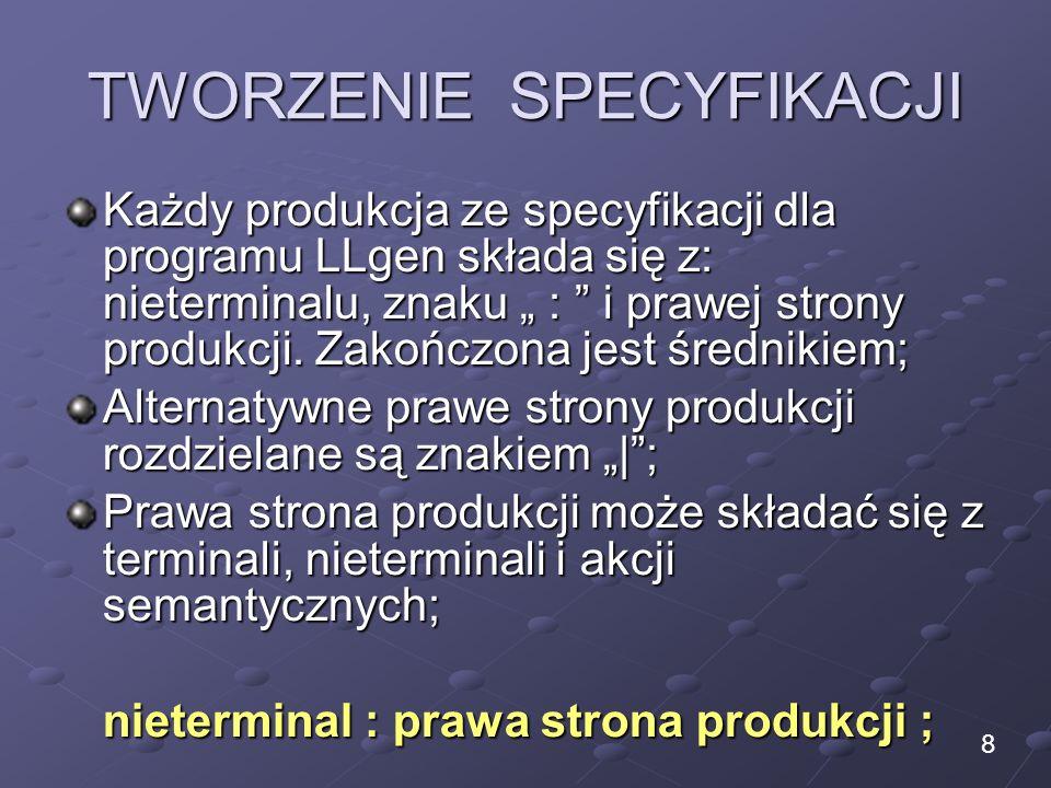 TWORZENIE SPECYFIKACJI Każdy produkcja ze specyfikacji dla programu LLgen składa się z: nieterminalu, znaku : i prawej strony produkcji. Zakończona je