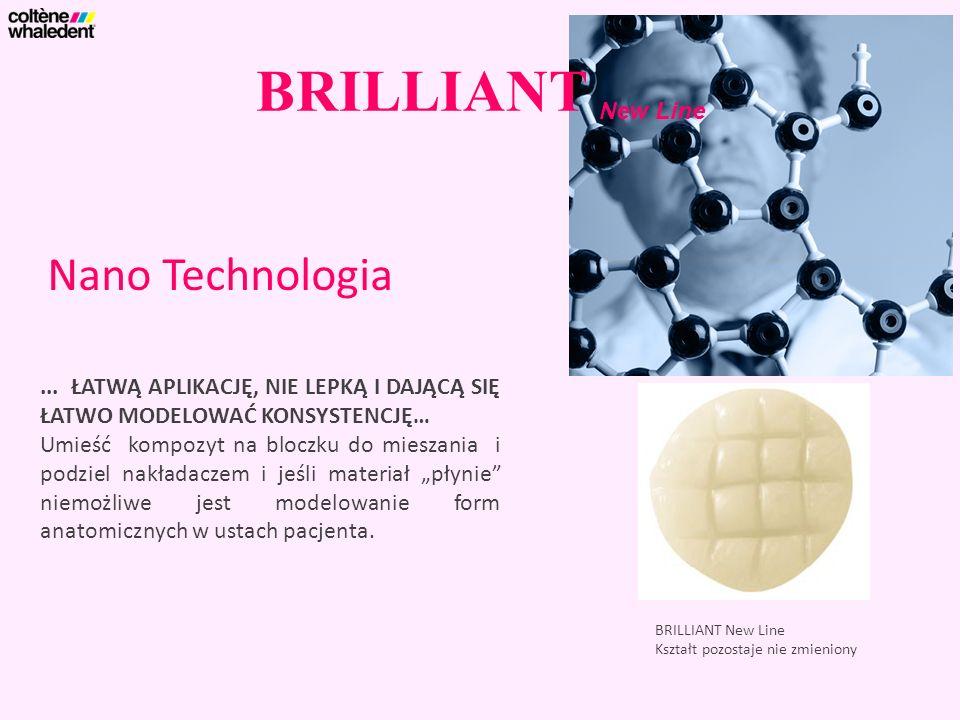 BRILLIANT New Line Nano Technologia BRILLIANT New Line Kształt pozostaje nie zmieniony... ŁATWĄ APLIKACJĘ, NIE LEPKĄ I DAJĄCĄ SIĘ ŁATWO MODELOWAĆ KONS