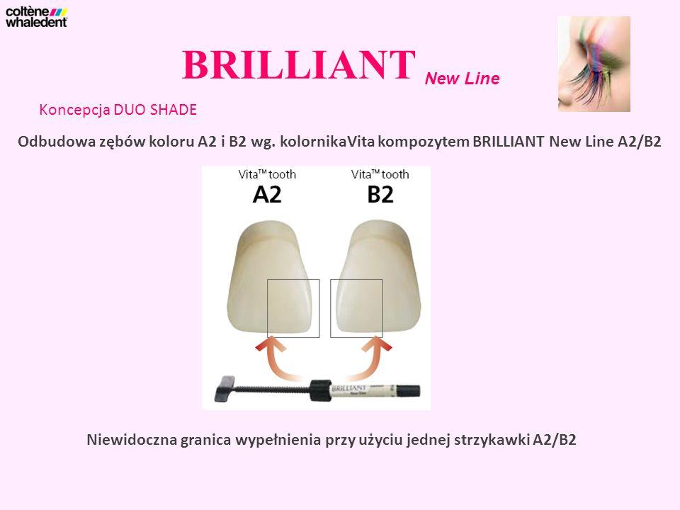 BRILLIANT New Line Koncepcja DUO SHADE Niewidoczna granica wypełnienia przy użyciu jednej strzykawki A2/B2 Odbudowa zębów koloru A2 i B2 wg. kolornika