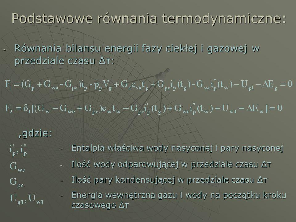 Podstawowe równania termodynamiczne: - Równania bilansu energii fazy ciekłej i gazowej w przedziale czasu Δτ:,gdzie: - Entalpia właściwa wody nasycone