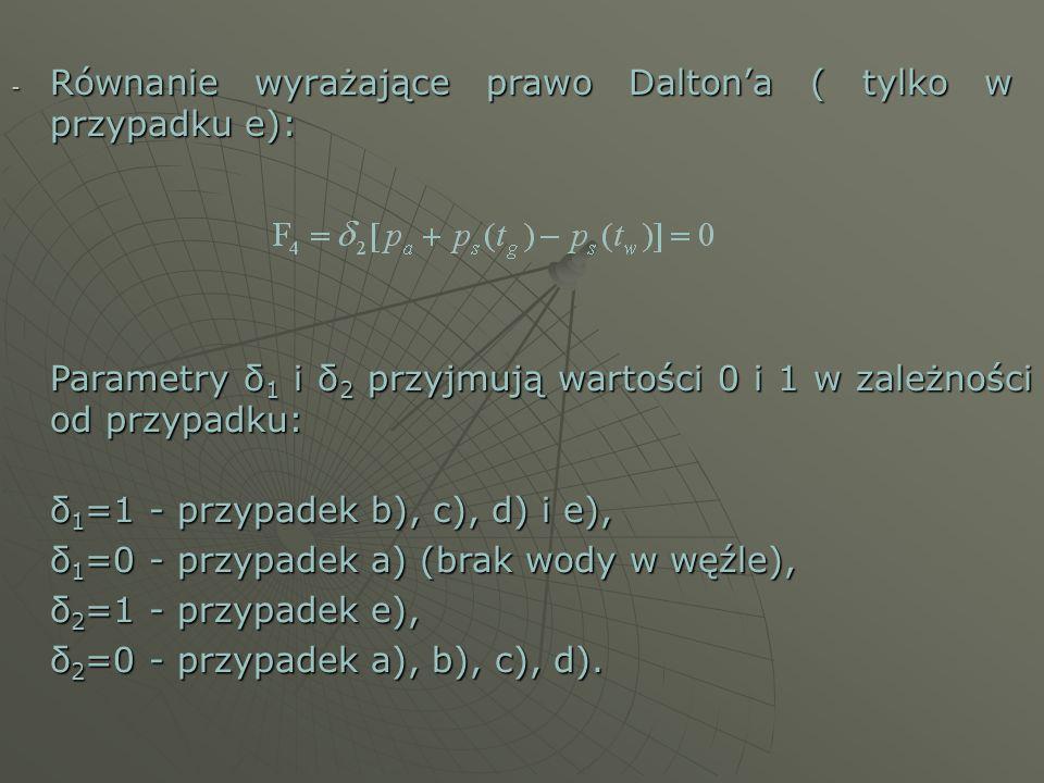 - Równanie wyrażające prawo Daltona ( tylko w przypadku e): Parametry δ 1 i δ 2 przyjmują wartości 0 i 1 w zależności od przypadku: δ 1 =1 - przypadek