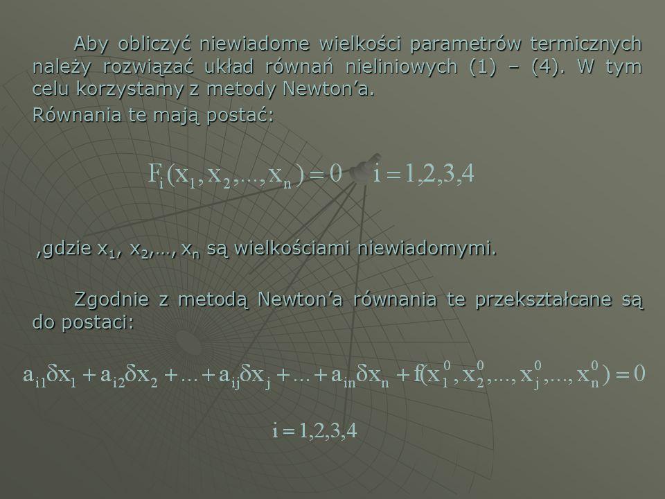 Aby obliczyć niewiadome wielkości parametrów termicznych należy rozwiązać układ równań nieliniowych (1) – (4). W tym celu korzystamy z metody Newtona.