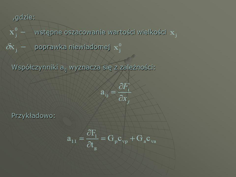 ,gdzie: wstępne oszacowanie wartości wielkości poprawka niewiadomej Współczynniki a ij wyznacza się z zależności: Przykładowo: