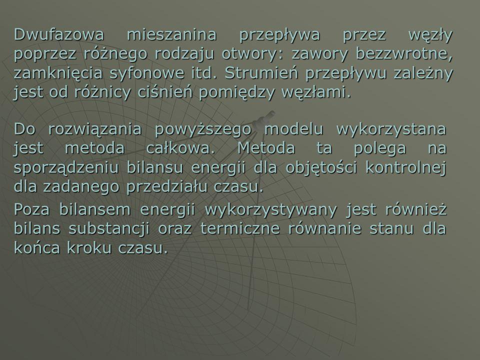 Dwufazowa mieszanina przepływa przez węzły poprzez różnego rodzaju otwory: zawory bezzwrotne, zamknięcia syfonowe itd. Strumień przepływu zależny jest