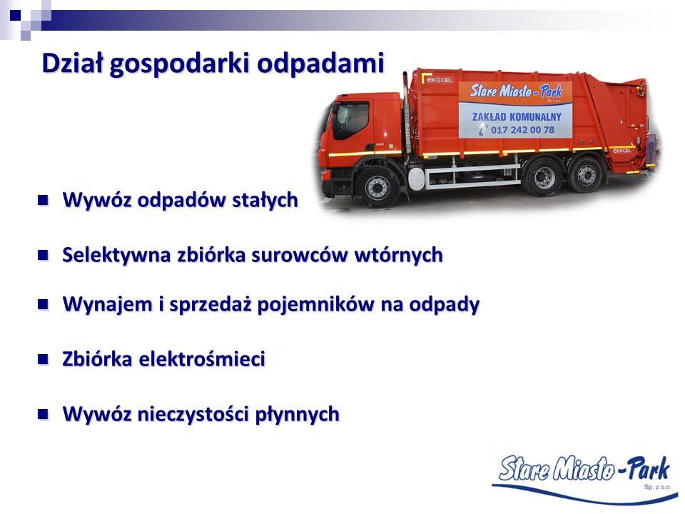 Wywóz odpadów stałych Wywóz odpadów stałych Selektywna zbiórka surowców wtórnych Selektywna zbiórka surowców wtórnych Wynajem i sprzedaż pojemników na
