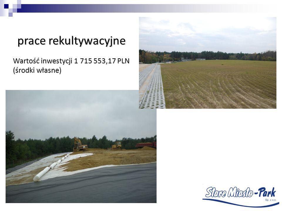 prace rekultywacyjne Wartość inwestycji 1 715 553,17 PLN (środki własne)