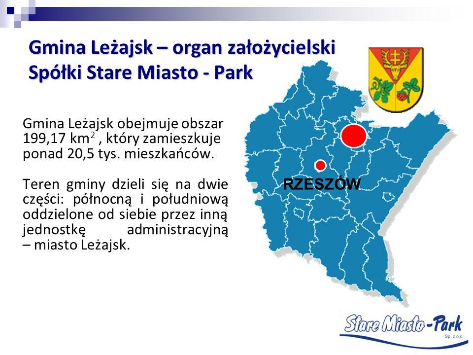 Gmina Leżajsk – organ założycielski Spółki Stare Miasto - Park Gmina Leżajsk obejmuje obszar 199,17 km 2, który zamieszkuje ponad 20,5 tys. mieszkańcó
