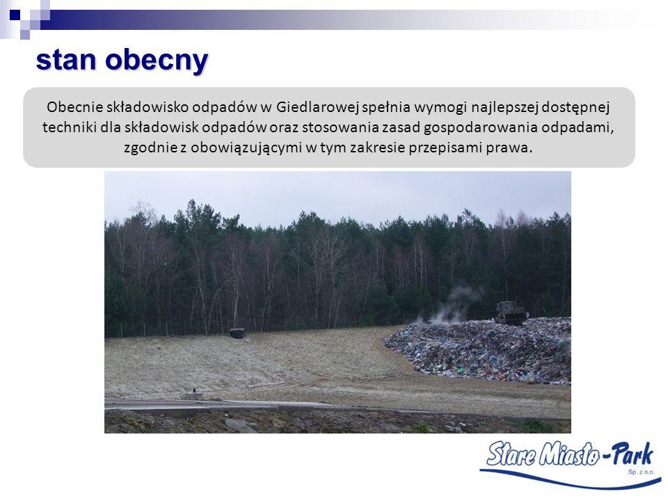 stan obecny Obecnie składowisko odpadów w Giedlarowej spełnia wymogi najlepszej dostępnej techniki dla składowisk odpadów oraz stosowania zasad gospod