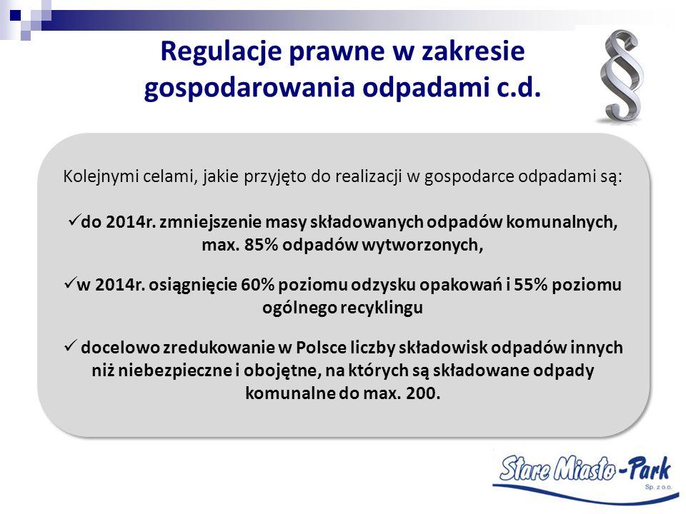 Regulacje prawne w zakresie gospodarowania odpadami c.d. Kolejnymi celami, jakie przyjęto do realizacji w gospodarce odpadami są: do 2014r. zmniejszen