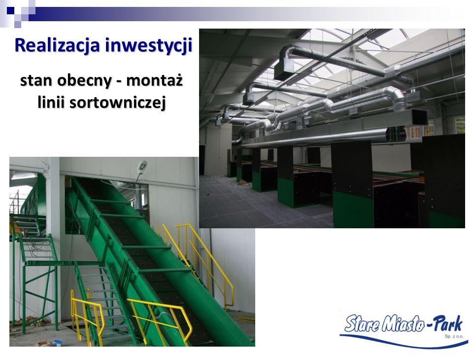 stan obecny - montaż linii sortowniczej Realizacja inwestycji