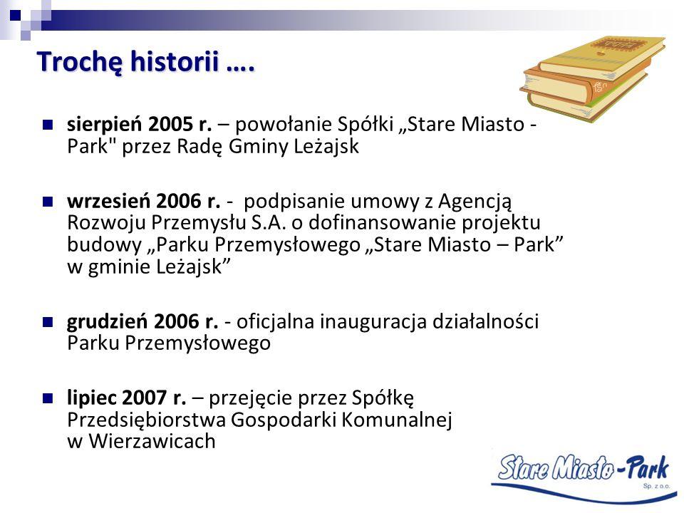 Trochę historii …. sierpień 2005 r. – powołanie Spółki Stare Miasto - Park