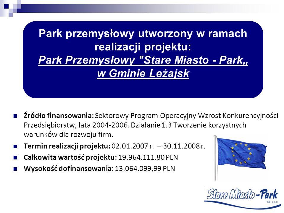 Źródło finansowania: Sektorowy Program Operacyjny Wzrost Konkurencyjności Przedsiębiorstw, lata 2004-2006. Działanie 1.3 Tworzenie korzystnych warunkó