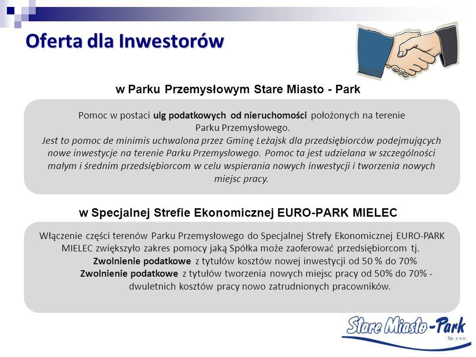 Oferta dla Inwestorów w Parku Przemysłowym Stare Miasto - Park w Specjalnej Strefie Ekonomicznej EURO-PARK MIELEC Pomoc w postaci ulg podatkowych od n
