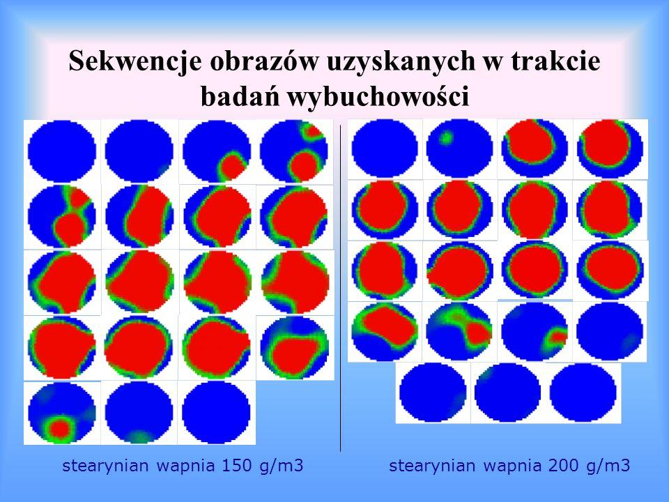 Sekwencje obrazów uzyskanych w trakcie badań wybuchowości stearynian wapnia 100 g/m 3