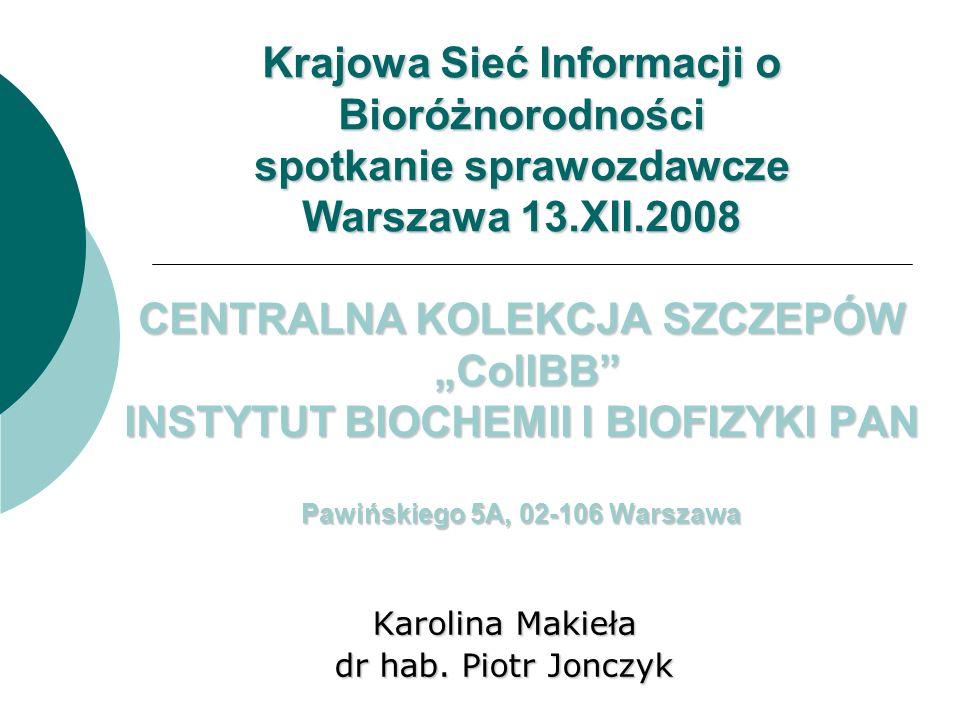 Karolina Makieła dr hab. Piotr Jonczyk Krajowa Sieć Informacji o Bioróżnorodności spotkanie sprawozdawcze Warszawa 13.XII.2008 CENTRALNA KOLEKCJA SZCZ