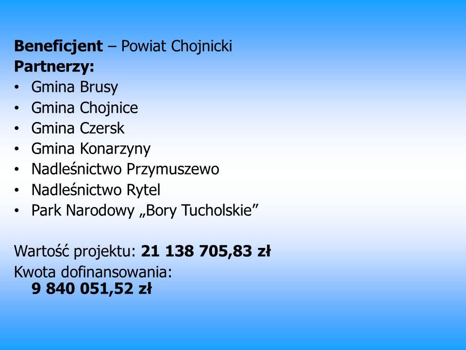 Beneficjent – Powiat Chojnicki Partnerzy: Gmina Brusy Gmina Chojnice Gmina Czersk Gmina Konarzyny Nadleśnictwo Przymuszewo Nadleśnictwo Rytel Park Nar