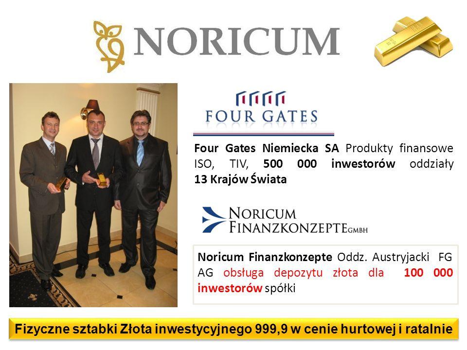 Noricum Finanzkonzepte Oddz. Austryjacki FG AG obsługa depozytu złota dla 100 000 inwestorów spółki Four Gates Niemiecka SA Produkty finansowe ISO, TI