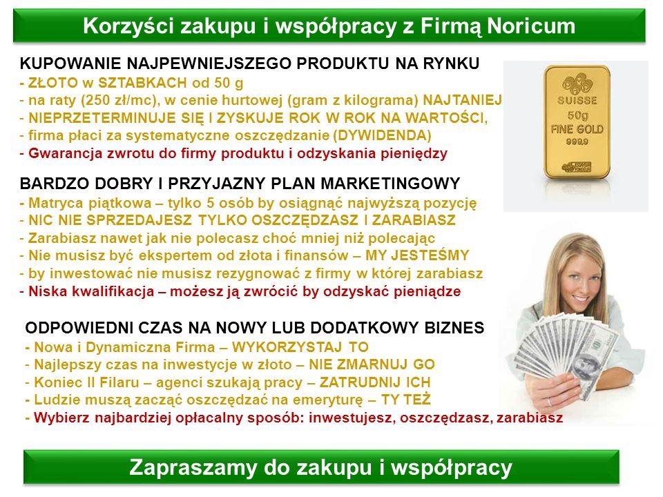 Zapraszamy do zakupu i współpracy Korzyści zakupu i współpracy z Firmą Noricum KUPOWANIE NAJPEWNIEJSZEGO PRODUKTU NA RYNKU - ZŁOTO w SZTABKACH od 50 g