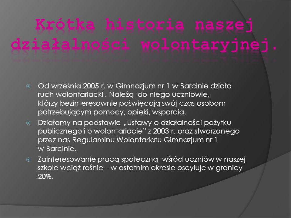 Od września 2005 r. w Gimnazjum nr 1 w Barcinie działa ruch wolontariacki. Należą do niego uczniowie, którzy bezinteresownie poświęcają swój czas osob