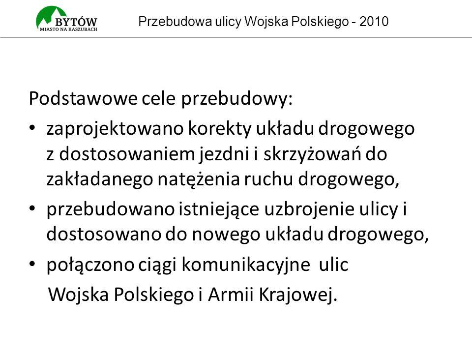 Podstawowe cele przebudowy: zaprojektowano korekty układu drogowego z dostosowaniem jezdni i skrzyżowań do zakładanego natężenia ruchu drogowego, przebudowano istniejące uzbrojenie ulicy i dostosowano do nowego układu drogowego, połączono ciągi komunikacyjne ulic Wojska Polskiego i Armii Krajowej.