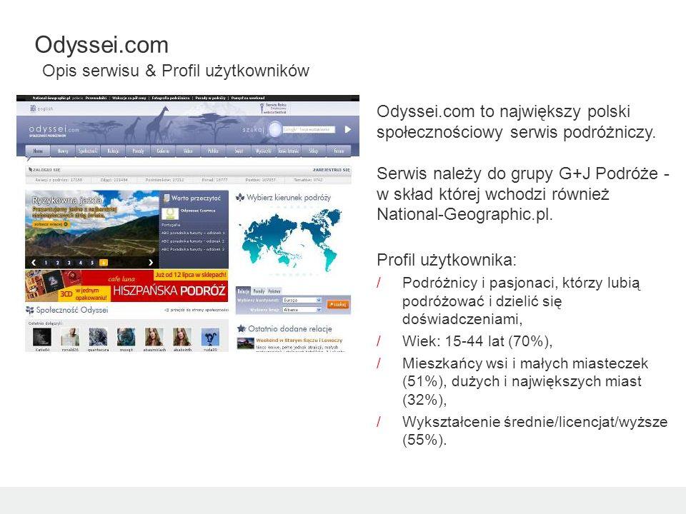 Odyssei.com to największy polski społecznościowy serwis podróżniczy. Serwis należy do grupy G+J Podróże - w skład której wchodzi również National-Geog