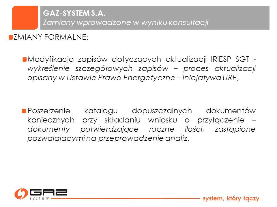 GAZ-SYSTEM S.A. Zamiany wprowadzone w wyniku konsultacji ZMIANY FORMALNE: Modyfikacja zapisów dotyczących aktualizacji IRiESP SGT - wykreślenie szczeg