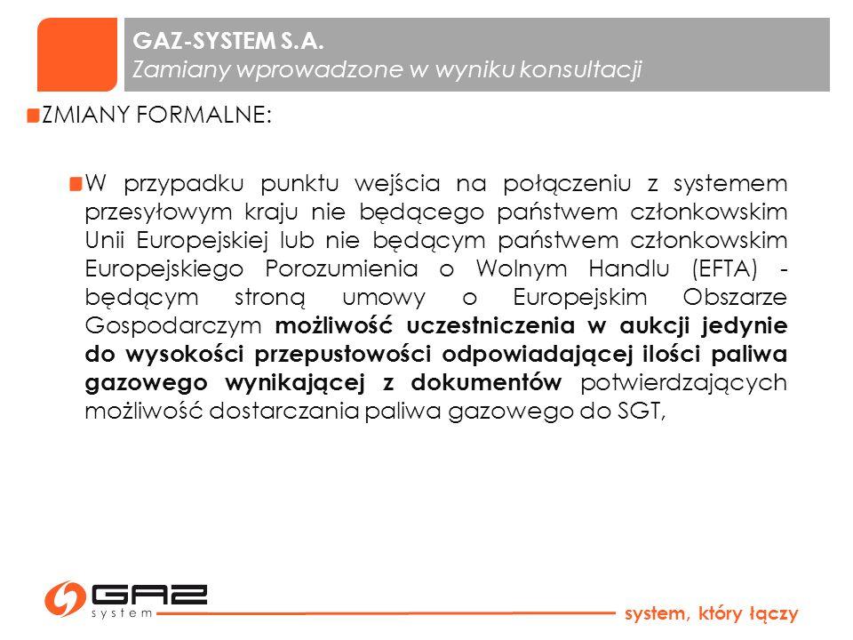 GAZ-SYSTEM S.A. Zamiany wprowadzone w wyniku konsultacji ZMIANY FORMALNE: W przypadku punktu wejścia na połączeniu z systemem przesyłowym kraju nie bę