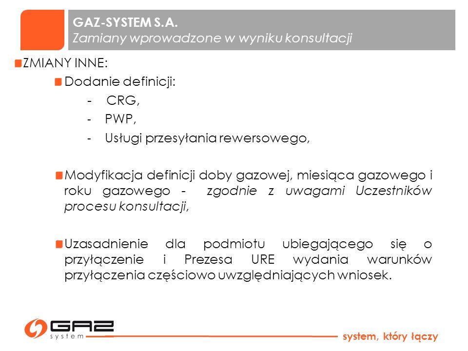 GAZ-SYSTEM S.A. Zamiany wprowadzone w wyniku konsultacji ZMIANY INNE: Dodanie definicji: - CRG, - PWP, - Usługi przesyłania rewersowego, Modyfikacja d