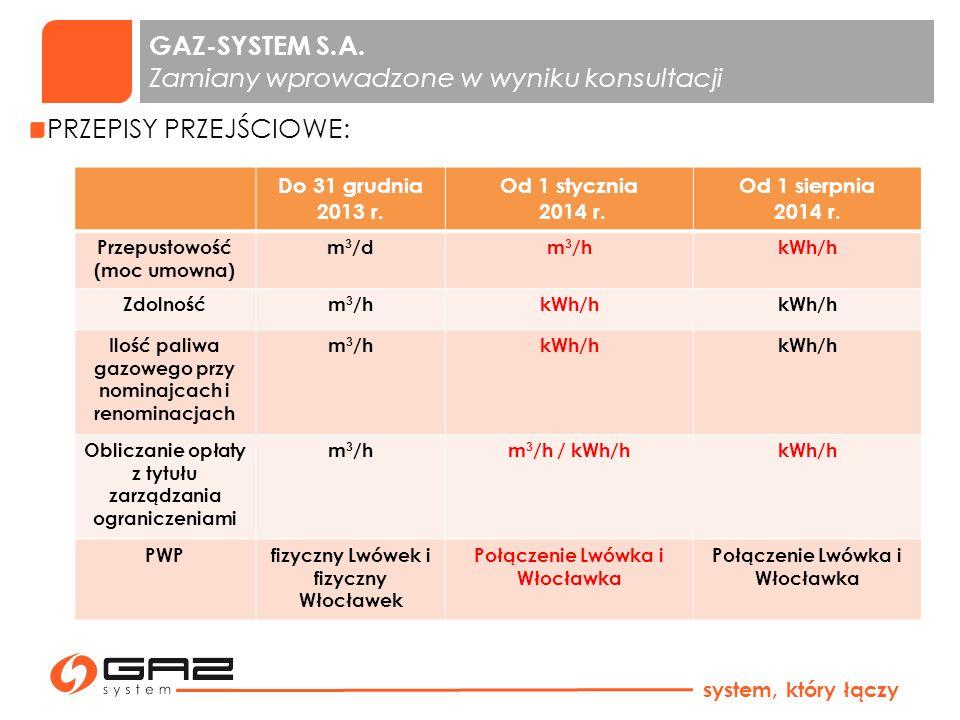 GAZ-SYSTEM S.A. Zamiany wprowadzone w wyniku konsultacji system, który łączy PRZEPISY PRZEJŚCIOWE: Do 31 grudnia 2013 r. Od 1 stycznia 2014 r. Od 1 si