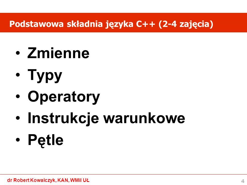 5 dr Robert Kowalczyk, KAN, WMiI UŁ Złożona składnia języka C++ (5-7 zajęcia) Tablice Funkcje Iteracja i rekurencja Odczyt i zapis pliku