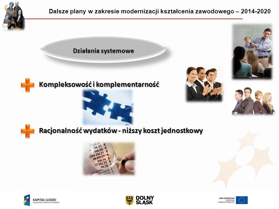 Działania systemowe Kompleksowość i komplementarność Racjonalność wydatków - niższy koszt jednostkowy Dalsze plany w zakresie modernizacji kształcenia zawodowego – 2014-2020