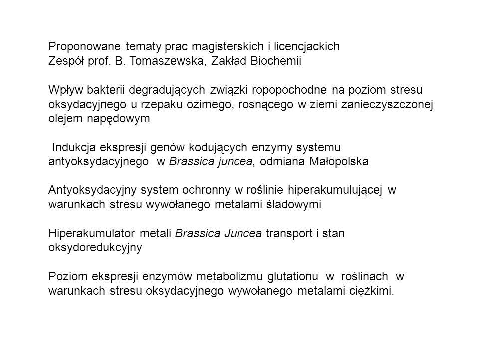 Proponowane tematy prac magisterskich i licencjackich Zespół prof. B. Tomaszewska, Zakład Biochemii Wpływ bakterii degradujących związki ropopochodne