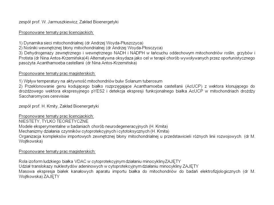 zespół prof. W. Jarmuszkiewicz, Zakład Bioenergetyki Proponowane tematy prac licencjackich: 1) Dynamika sieci mitochondrialnej (dr Andrzej Woyda-Płusz