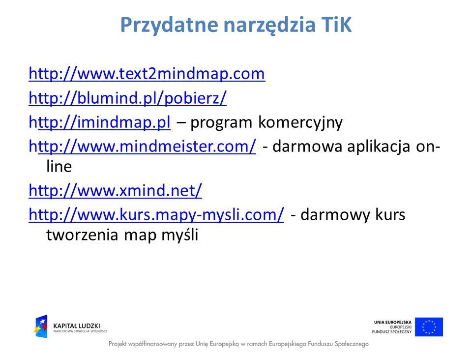 Przydatne narzędzia TiK http://www.text2mindmap.com http://blumind.pl/pobierz/ http://imindmap.pl – program komercyjnyttp://imindmap.pl http://www.min