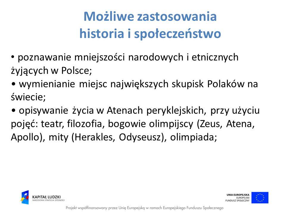 Możliwe zastosowania historia i społeczeństwo poznawanie mniejszości narodowych i etnicznych żyjących w Polsce; wymienianie miejsc największych skupis