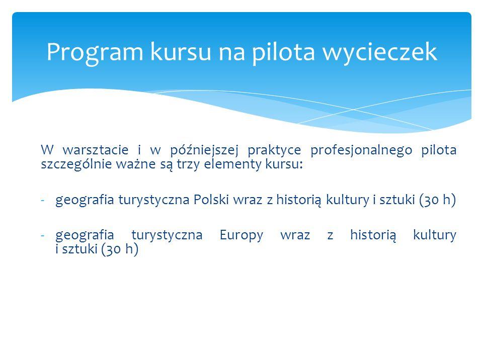 W warsztacie i w późniejszej praktyce profesjonalnego pilota szczególnie ważne są trzy elementy kursu: -geografia turystyczna Polski wraz z historią k
