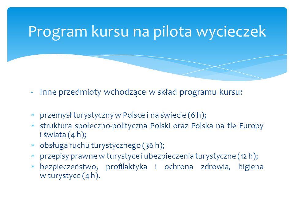 -Inne przedmioty wchodzące w skład programu kursu: przemysł turystyczny w Polsce i na świecie (6 h); struktura społeczno-polityczna Polski oraz Polska