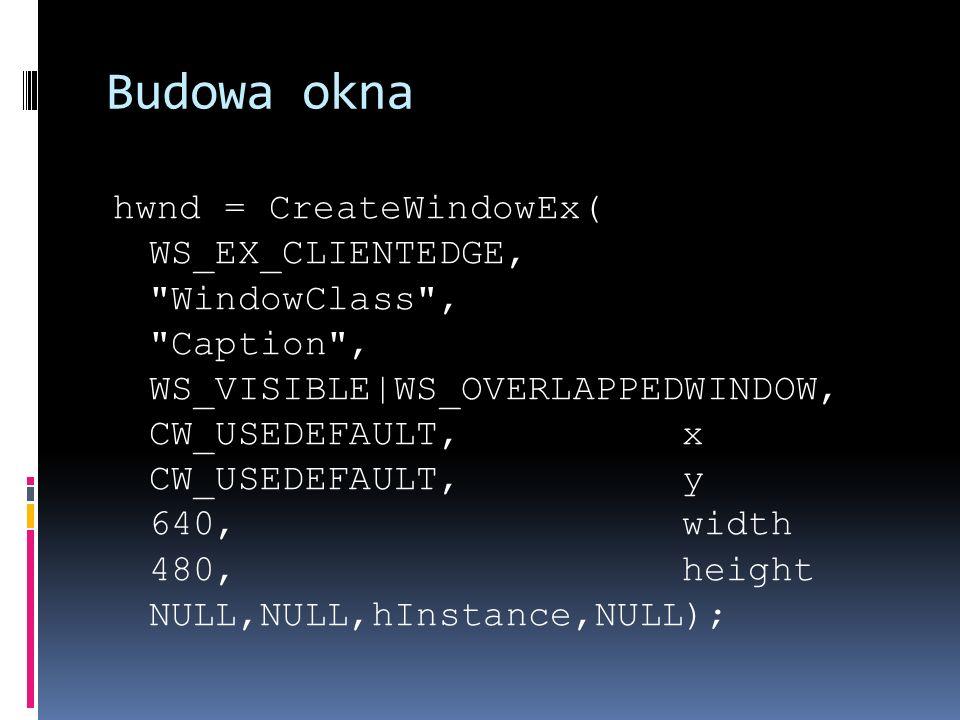 Budowa okna hwnd = CreateWindowEx( WS_EX_CLIENTEDGE, WindowClass , Caption , WS_VISIBLE WS_OVERLAPPEDWINDOW, CW_USEDEFAULT, x CW_USEDEFAULT, y 640, width 480, height NULL,NULL,hInstance,NULL);