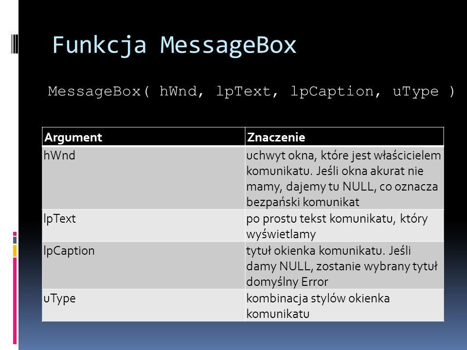 Funkcja MessageBox ArgumentZnaczenie hWnduchwyt okna, które jest właścicielem komunikatu.