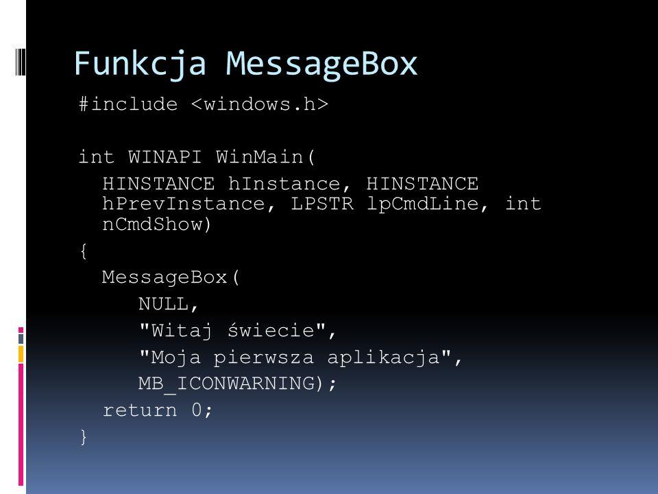 Funkcja MessageBox #include int WINAPI WinMain( HINSTANCE hInstance, HINSTANCE hPrevInstance, LPSTR lpCmdLine, int nCmdShow) { MessageBox( NULL, Witaj świecie , Moja pierwsza aplikacja , MB_ICONWARNING); return 0; }