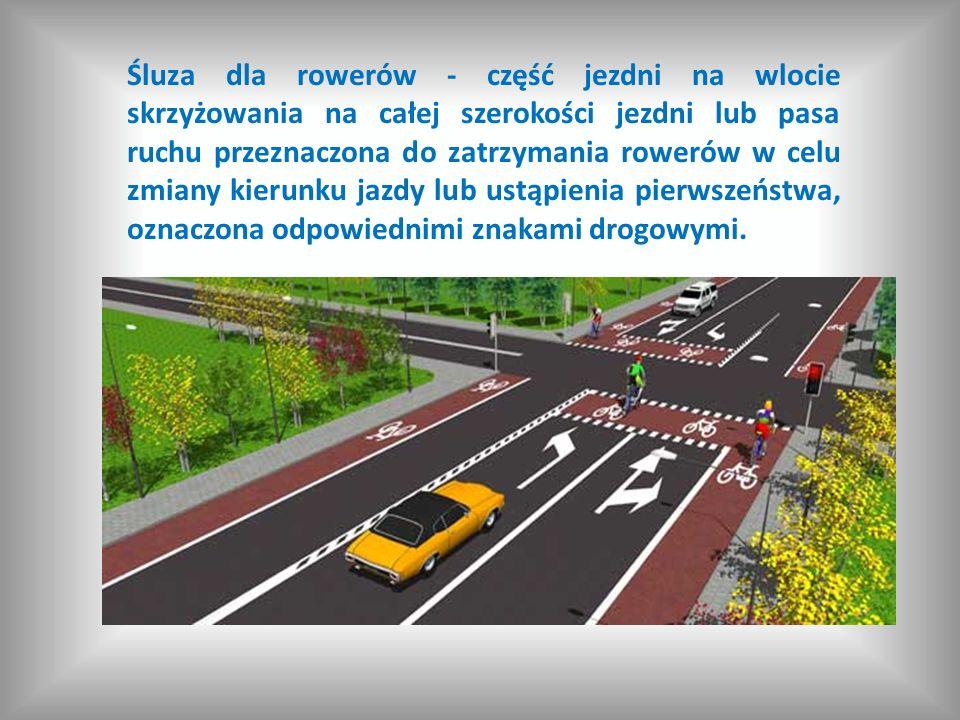 Śluza dla rowerów - część jezdni na wlocie skrzyżowania na całej szerokości jezdni lub pasa ruchu przeznaczona do zatrzymania rowerów w celu zmiany ki