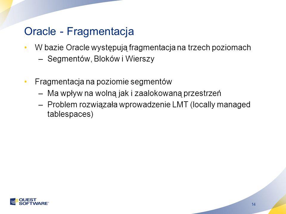 14 Oracle - Fragmentacja W bazie Oracle występują fragmentacja na trzech poziomach –Segmentów, Bloków i Wierszy Fragmentacja na poziomie segmentów –Ma wpływ na wolną jak i zaalokowaną przestrzeń –Problem rozwiązała wprowadzenie LMT (locally managed tablespaces)