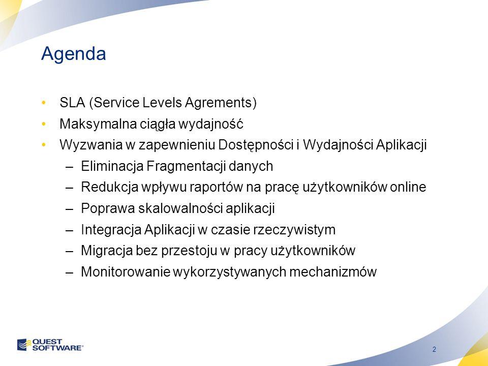 2 Agenda SLA (Service Levels Agrements) Maksymalna ciągła wydajność Wyzwania w zapewnieniu Dostępności i Wydajności Aplikacji –Eliminacja Fragmentacji