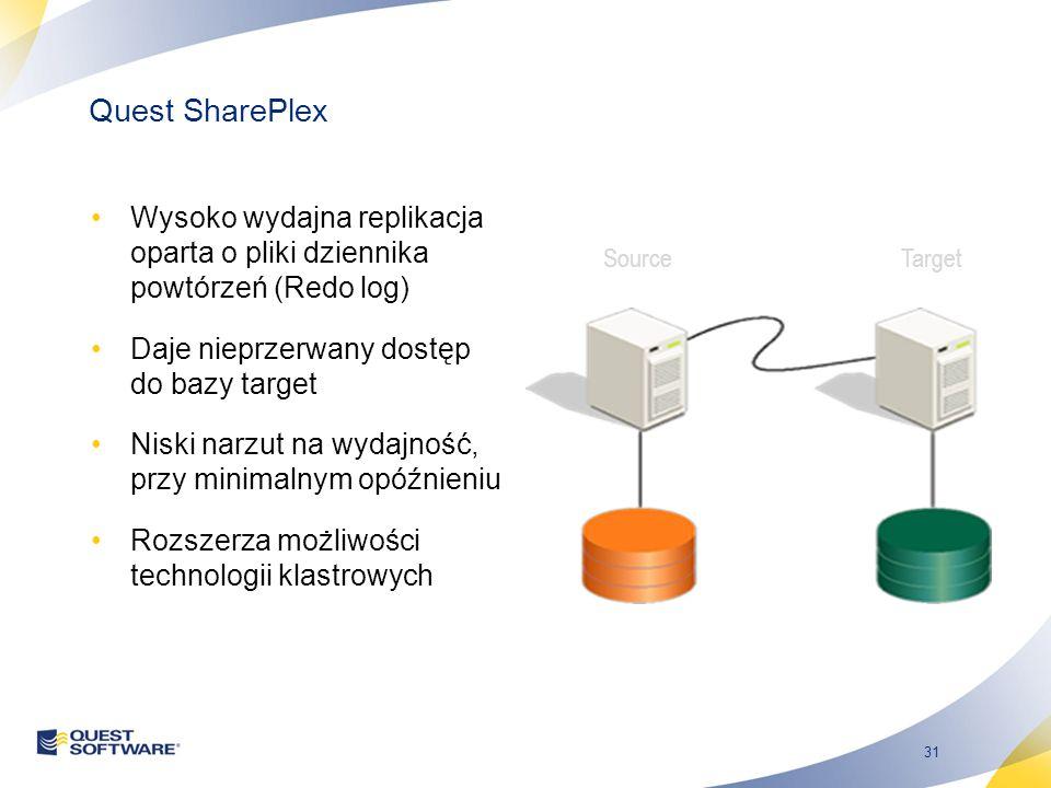 31 Quest SharePlex Wysoko wydajna replikacja oparta o pliki dziennika powtórzeń (Redo log) Daje nieprzerwany dostęp do bazy target Niski narzut na wydajność, przy minimalnym opóźnieniu Rozszerza możliwości technologii klastrowych SourceTarget