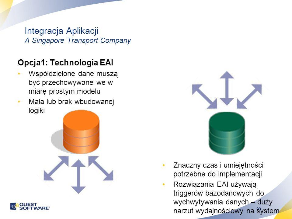 39 Integracja Aplikacji A Singapore Transport Company Opcja1: Technologia EAI Współdzielone dane muszą być przechowywane we w miarę prostym modelu Mała lub brak wbudowanej logiki Znaczny czas i umiejętności potrzebne do implementacji Rozwiązania EAI używają triggerów bazodanowych do wychwytywania danych – duży narzut wydajnościowy na system