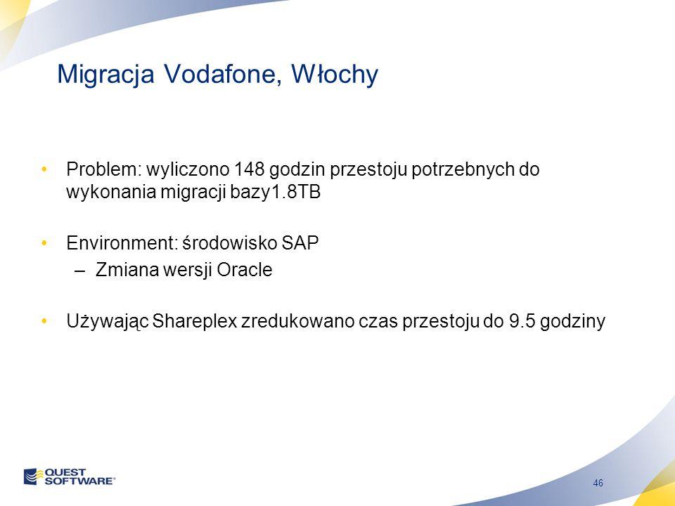 46 Migracja Vodafone, Włochy Problem: wyliczono 148 godzin przestoju potrzebnych do wykonania migracji bazy1.8TB Environment: środowisko SAP –Zmiana wersji Oracle Używając Shareplex zredukowano czas przestoju do 9.5 godziny