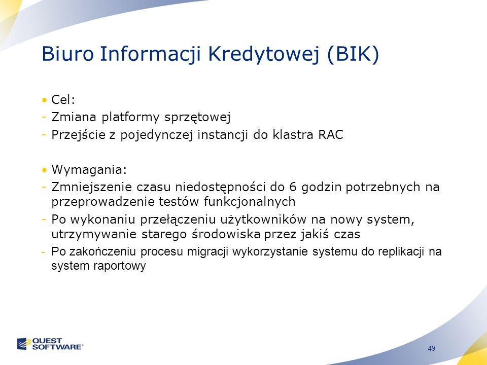 49 Biuro Informacji Kredytowej (BIK) Cel: -Zmiana platformy sprzętowej -Przejście z pojedynczej instancji do klastra RAC Wymagania: -Zmniejszenie czasu niedostępności do 6 godzin potrzebnych na przeprowadzenie testów funkcjonalnych -Po wykonaniu przełączeniu użytkowników na nowy system, utrzymywanie starego środowiska przez jakiś czas -Po zakończeniu procesu migracji wykorzystanie systemu do replikacji na system raportowy