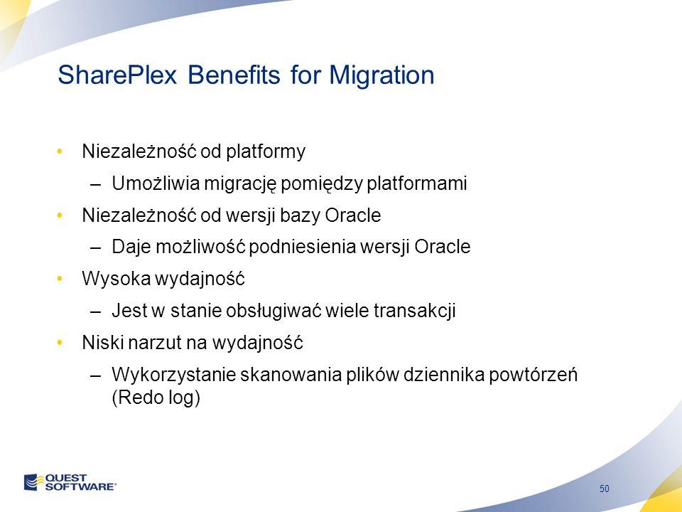 50 SharePlex Benefits for Migration Niezależność od platformy –Umożliwia migrację pomiędzy platformami Niezależność od wersji bazy Oracle –Daje możliwość podniesienia wersji Oracle Wysoka wydajność –Jest w stanie obsługiwać wiele transakcji Niski narzut na wydajność –Wykorzystanie skanowania plików dziennika powtórzeń (Redo log)