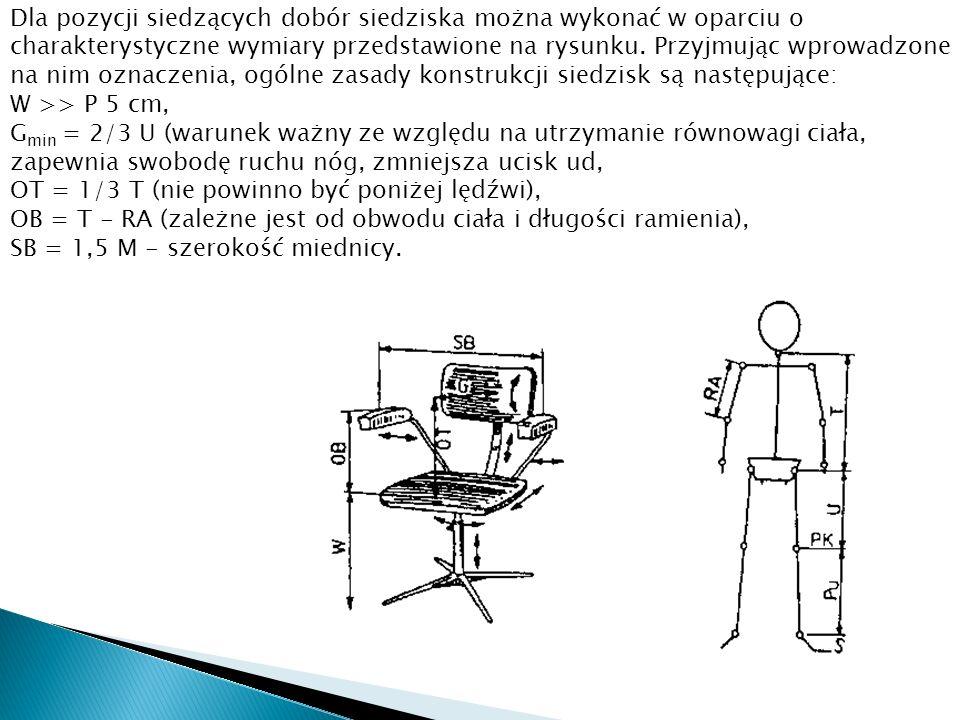 Dla pozycji siedzących dobór siedziska można wykonać w oparciu o charakterystyczne wymiary przedstawione na rysunku. Przyjmując wprowadzone na nim ozn